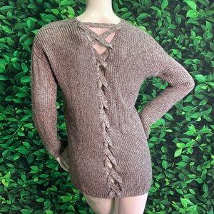 CLOUDCHASER metallic Grey rib knit cardi sweater l